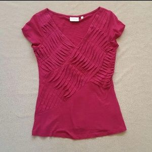 Anthropologie Pink Pleated Pintucked Top